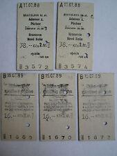 Edmondson Rail Train Tickets 5x Bratislava Czechoslovakia ČSD Railways 1988-1989
