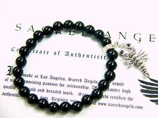 Silver Scorpion Strech Onyx  Bead Bracelet With Black Diamond by Sacred Angels