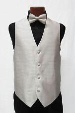 Mens Cream Ivory Crystal Tuxedo Fullback Vest & Tie Wedding Medium Med M