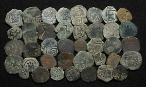 SPAIN. Lot of 39 Cob Maravedis and others, 1500-1600's