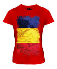 ROMANIA GRUNGE FLAG LADIES T-SHIRT TEE TOP ROMANIA FOOTBALL ROMANIAN GIFT SHIRT