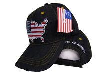 Dark Denim Blue USA America Flag in Country Baseball Cap Hat