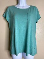 Talbots Womens Size M Green Pocket Tee Shirt Short Sleeve