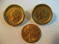 VINTAGE MONET GOLD-TONE ARMY & NAVY COIN PIERCED EARRINGS/GOOD COND/UNIQUE/RARE.