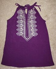 NEW INC international Concepts purple halter neck sleeveless pattern top SIZE S