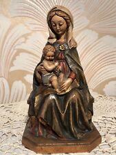 Anri Vintage Madonna Mary Child Jesus Carved Wood Statue Figure Italy 7� Euc