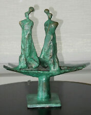 "Solid Copper Statue -  Abstract Two Women - old green patina 13"" Tall"