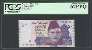 Pakistan 50 Rupees 2008 P47b Uncirculated Graded 67