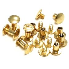 "10 Pack 1/2"" Brass Plated Chicago Screws Leather Fasteners"