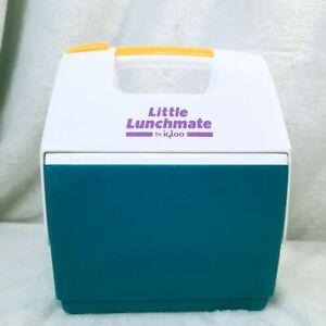 Vintage 1995 Little Lunchmate Igloo Lunchbox Cooler Ice Chest Teal Yellow Purple