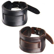 Men Atmospheric Punk Wide Leather Belt Wristband Bangle Cuff Bracelet Adjustable