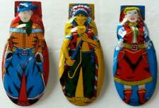 3 Vintage Tin Litho Made In Japan Clickers Cowboy, Indian, Cowgirl 1950's