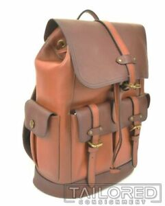NEW - COACH Hudson Brown Heritage Colorblock Pebble Leather Backpack F49543