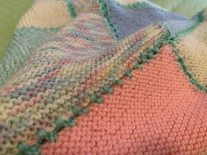 New Pretty Pastels Hand Knitted Blanket Rug Baby Doll Cot Pram 1m Square Throw
