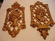 VINTAGE HARD PLASTIC GOLD TONE WALL HANGING DECOR SET OF TWO MADE IN USA