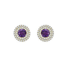 """MOTHERS DAY"" 14K Yellow Gold Fn Round Amethyst Double Halo Stud Earrings 1.25Ct"
