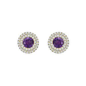 10k White Gold Fn 1.25 ct Amethyst/ diamond Cube Circle Earrings For earrings