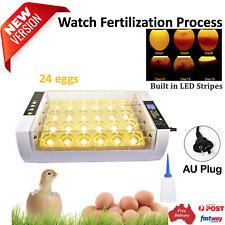 Automatic 24-Egg Incubator Hatching LED Egg Candling Chickens Ducks Pigeon Quail