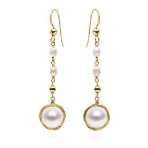 "Handmade White 10mm+ FW Pearl Dangle Long Earrings 14K Yellow Gold Filled,2"""