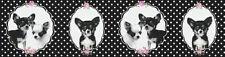 Tapeten Bordüre Chihuahua Hunde schwarz weiß rosa Punkte 35850-1