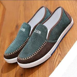 Cotton Mens Shoes Retro Flat Heels Loafers Mixed Color Driving Moccasins Fashion