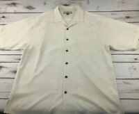 TOMMY BAHAMA Men's Size LARGE Palm Tree HAWAIIAN 100% Silk Button Down SHIRT