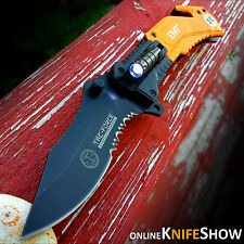 TAC-FORCE Orange EMT Spring Assisted Open LED Tactical Rescue Pocket Knife EMS