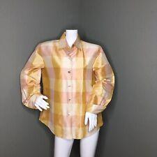 524bc9e2b67fe9 Linda Allard Ellen Tracy Long Sleeve 100% Silk Multi-Color Plaid Blouse