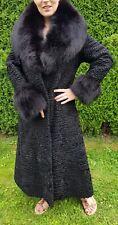 Neuwertig persianer Fur Coat Pelz Mantel Blaufuchs echtfell Jacke schwarz 38 M