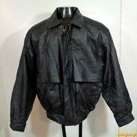 WORLD ALLIANCE Leather FLIGHT Bomber JACKET Mens Size M Black insulated