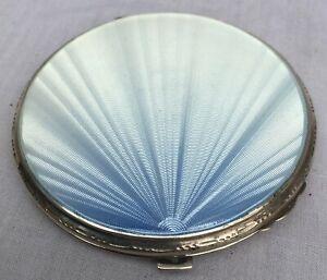 1938 SOLID STERLING SILVER & PALE BLUE GUILLOCHE ENAMEL POWDER COMPACT ART DECO