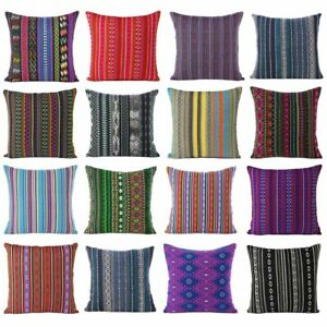 Colorful Striped Pillow Cushion Cover Case Sofa Decorative Throw Bohemian Accent