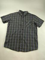 Oakley Sz M Blue/Green 100% Cotton S/S Button Shirt