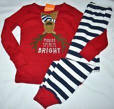Gymboree Holiday Shop Reindeer MAKING SPIRITS BRIGHT Red Pajamas 7 Kid Girls NWT