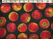 Timeless Treasures ~ Realistic Red Apples Black ~ 100% Cotton Quilt Fabric BTY