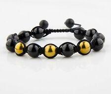 Herren Shamballa Onyx Matt perlen Armband Kugel Bracelet Achat Hämatit Macrome