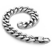 MENDINO Men's 316L Stainless Steel Bracelet Curb Lock Link Chain Bangle Silver