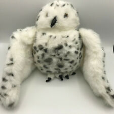 Folkmanis Snowy Owl Hand Puppet White Spotted Stuffed Animal Head Turns 360°