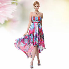 Asymmetrical Hem Chiffon Floral Dresses for Women