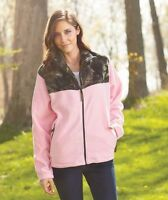 Women's Highland Timber Pink & Camo Fleece Jacket Size Medium 10/12 Warm Zip-Up