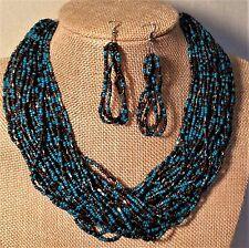 50 Layer Seed Bead Necklace Earring Set Teal Dark Brown Metallic Bronze Choker