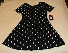 Doctor Who Ladies Black Tardis Printed Short Seeve Skater Dress Size XS New