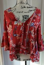 JAASE Boho Red Floral Ruffle Blouse Top Shirt Women's Size Small