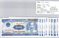 10 BILLETS VIETNAM - 5000 DONG 1991 - BILLETS CONSÉCUTIFS - NEUFS !!!