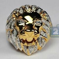 Punk Style Lion Head Jewelry Mens 14K Plated Gold White Sapphire Rings Gift