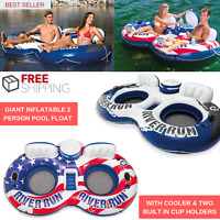 New Giant Inflatable 2 Person Pool Float With Cooler & Two Built In Cup Holders