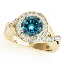 1.37 Cts Fancy Blue Color Round Diamond 14k Yellow Gold Halo Engagement Ring