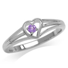 Natural Amethyst Gold Plated 925 Sterling Silver Heart Casual Love Ring SZ 8