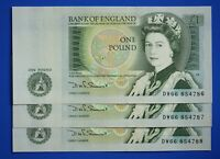 """3x Bank of England £1 One pound, Somerset """"DW66"""" Consecutive banknotes *[21847]"""