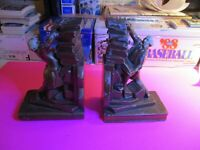 Vintage Pair Art Deco Spelter Hand Painted Scholar Librarian Book Ends Bookends